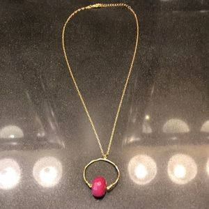 Jewelry - Gold necklace with pink charm